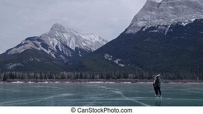 para łyżwiarstwo, mrożone jezioro