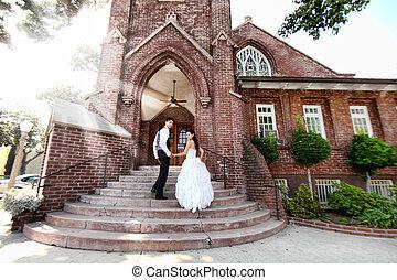 para, ślub, młody, outdoors
