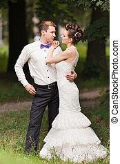 para, żonaty, park, właśnie