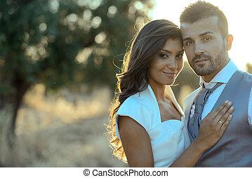 para, żonaty, tło, właśnie, natura