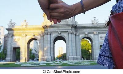 para, -, alaca, pieszy, zwiedzanie, madryt, hiszpania, od, ...