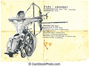 Para Archery. Para Sport and Movement. An hand drawn...