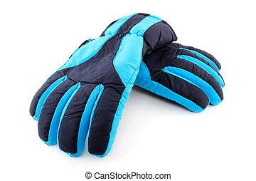 para, błękitny, rękawiczki, narta
