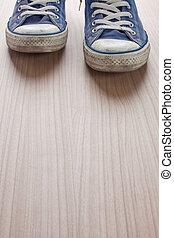 para, błękitny, sneakers