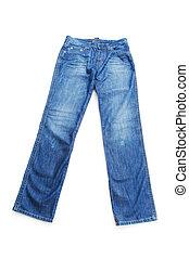 para, biały, dżinsy, odizolowany, tło