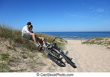para, bicycles, piasek diuna, posiedzenie