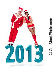 para, chodząc, gwiazdor, odzież, na, niejaki, 2013, nowy rok, znak