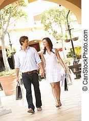 para, cieszący się, shopping podróż, razem