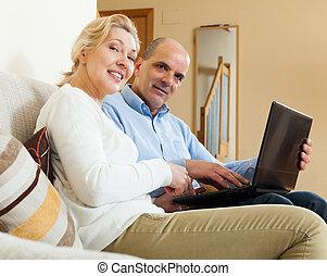para, dodatni, laptop, dojrzały