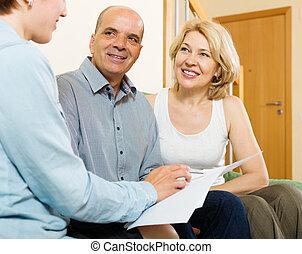 para, dojrzały, papier, słuchający, przedstawiciel