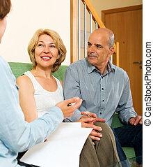 para, dojrzały, przedstawiciel, ubezpieczenie