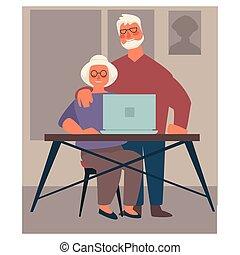 para, dziadkowie, internet, laptop, surfing, używając, starszy