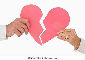 para, dzierżawa, serce, papier, złamany