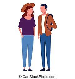 para, faceless, pieszy razem