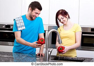 para, gotowanie, razem, szczęśliwy