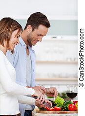 para, gotowanie, szczęśliwy