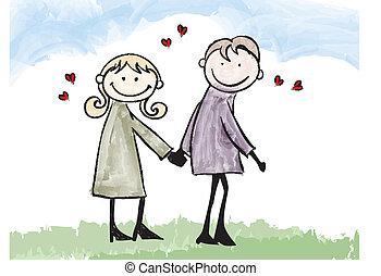 para, ilustracja, kochanek, datując, rysunek, szczęśliwy