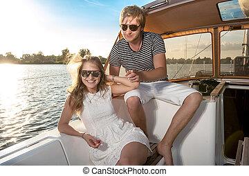 para, jacht, młody, odprężając, szczęśliwy
