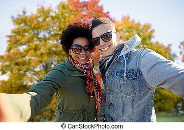 para, jesień, prąd, mieszany, wpływy, selfie, szczęśliwy