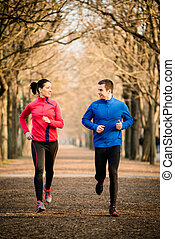 para, jogging, razem