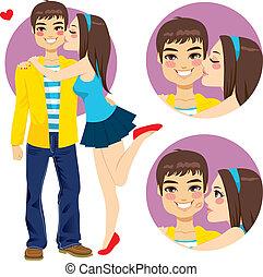 para, kochankowie, młody, pocałunek