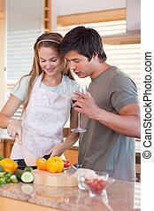 para, kucharstwo jadło, razem, szczęśliwy