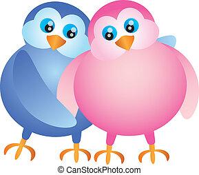 para, lovebird, valentines dzień, ilustracja