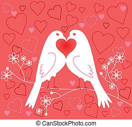para, lovebirds., dzień, valentine