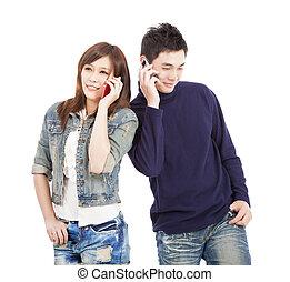 para mówiąca, szczęśliwy, telefon, asian