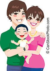 para, młody, adoptowany, dziecko