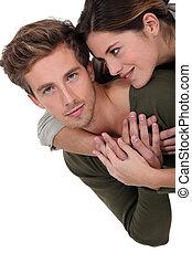 para, młody, obejmowanie