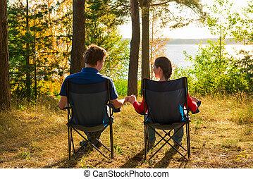 para, młody, obozowanie, urlop