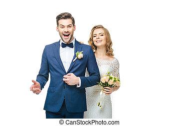 para, młody, odizolowany, poślubny portret, biały, szczęśliwy