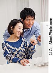 para, młody, pc, używając, asian