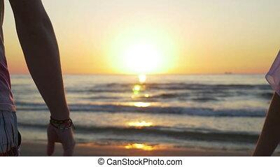 para, młody, zachód słońca, dzierżawa wręcza, plaża