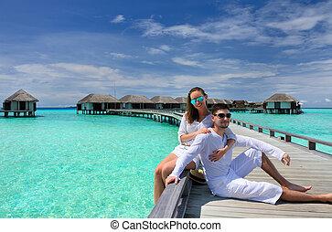 para, malediwy, plaża, molo