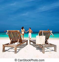 para, malediwy, plaża, wyścigi, biały