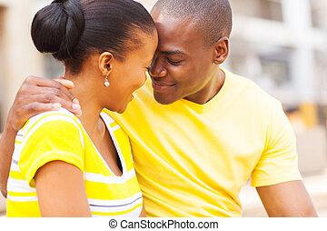 para, miłość, młody, afrykanin