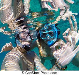 para, miodowy miesiąc, młody, snorkeling