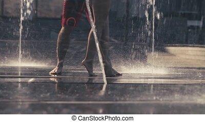 para, nogi, fontanna, młody, taniec