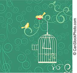 para, od, żółty, ptaszki, otwarty, klatka, i, flourishes, na, zielony, backgrouns
