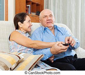 para, oddalony, telewizja, dojrzały