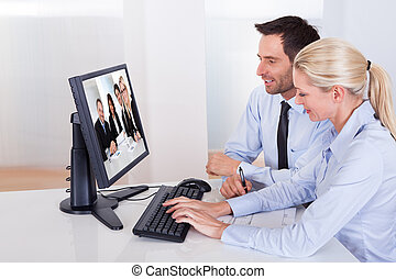 para, oglądając, prezentacja, online