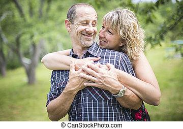 para, park, dorosły, szczęśliwy