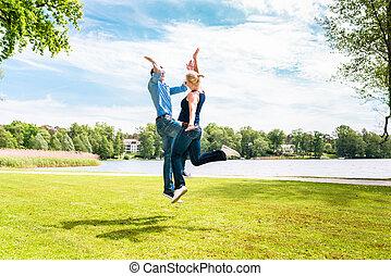 para, park, szczęśliwy