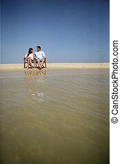 para, plaża, posiedzenie