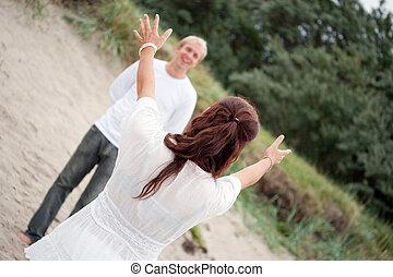 para, plaża, romantyk, młody