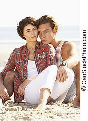 para, plaża, romantyk, odprężając, młody