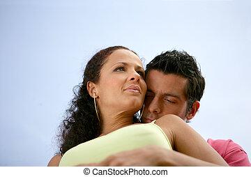 para, plaża, romantyk