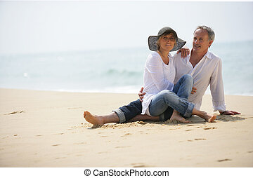 para, plaża, siedział